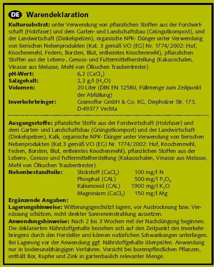 Substrát Gramoflor ORGANICKÝ bezrašelinový pro bylinky a zeleninu 20l - Substrát Gramoflor ORGANICKÝ bezrašelinový pro bylinky a zeleninu 20l
