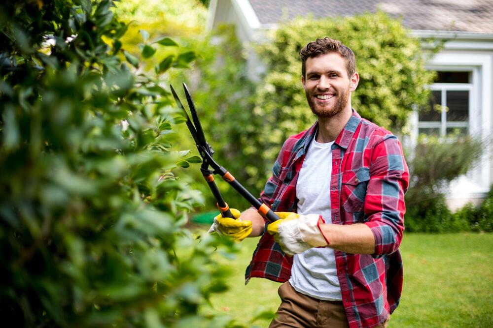 mladý muž v košili a s fousama se směje a stříhá živý plot